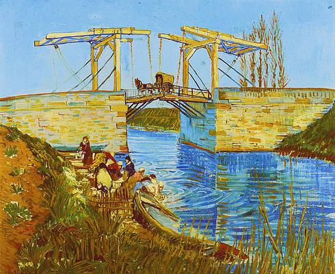 Langlois Bridge at Arles with Women Washing Print by Vincent van Gogh