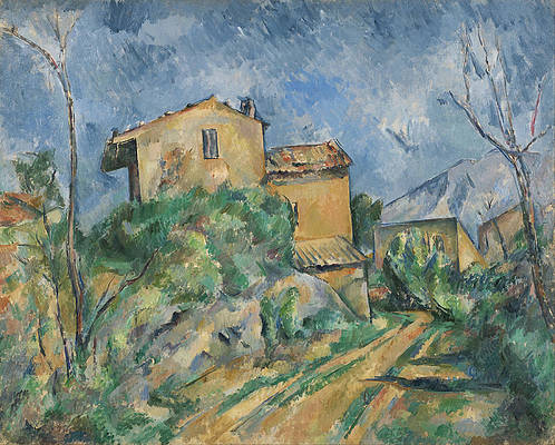 Maison Maria with a View of Chateau Noir Print by Paul Cezanne