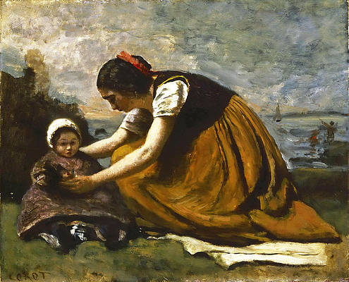Mother and Child on a Beach Print by Jean-Baptiste-Camille Corot