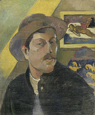 Self-portrait with a hat Print by Paul Gauguin