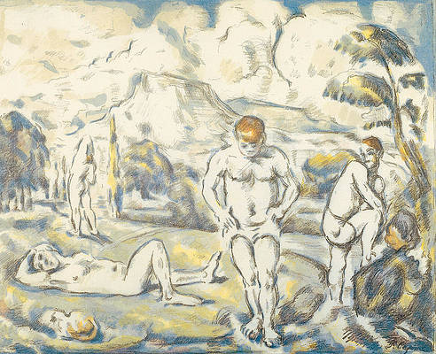 The bathers large plate Print by Paul Cezanne