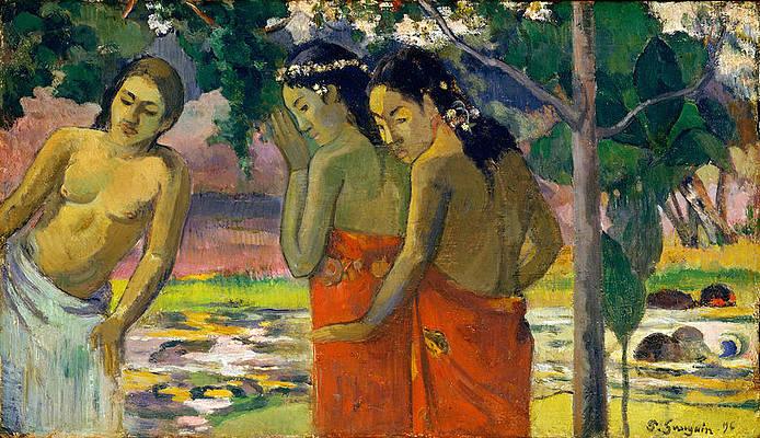 Three Tahitian Women Print by Paul Gauguin