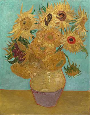 Vase with Twelve Sunflowers Print by Vincent van Gogh