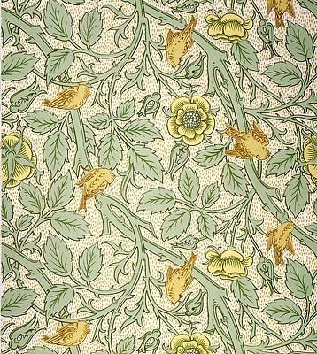 Рисунок диких цветов - дизайн обоев с птицами от Уильяма Морриса
