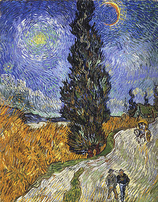 Country road in Provence by night. Print by Vincent van Gogh