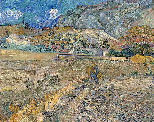 Enclosed Wheat Field with Peasant Print by Vincent van Gogh