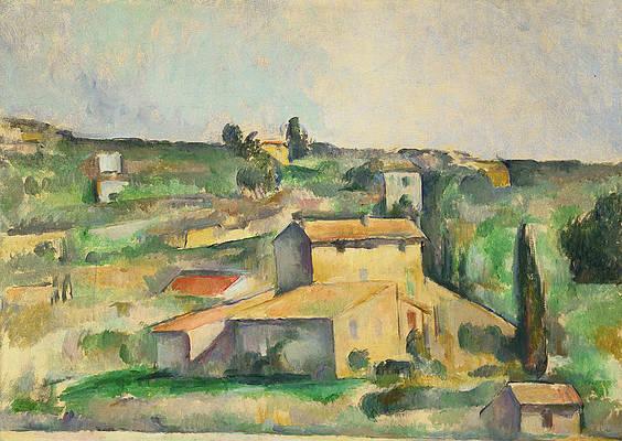 Fields at Bellevue Print by Paul Cezanne