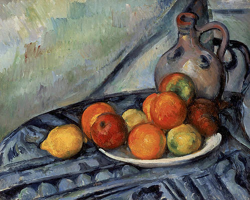 Fruit and a Jug on a Table Print by Paul Cezanne