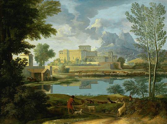 Landscape with a Calm Print by Nicolas Poussin