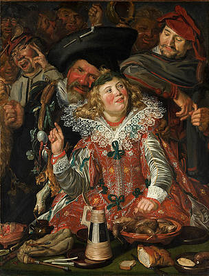 Merrymakers at Shrovetide Print by Frans Hals
