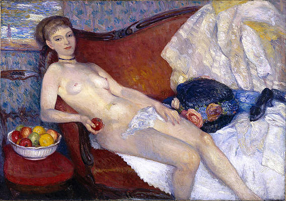 Glackens Art - Nude with Apple by William Glackens