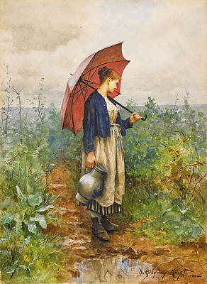 Portrait of a Woman with Umbrella Gathering Water Print by Daniel Ridgway Knight