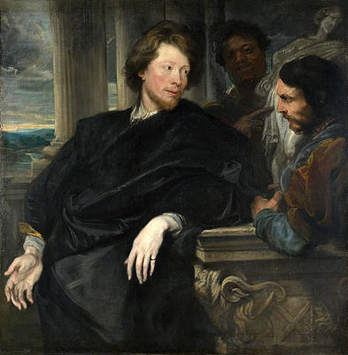 Portrait of George Gage with Two Attendants Print by Anthony van Dyck