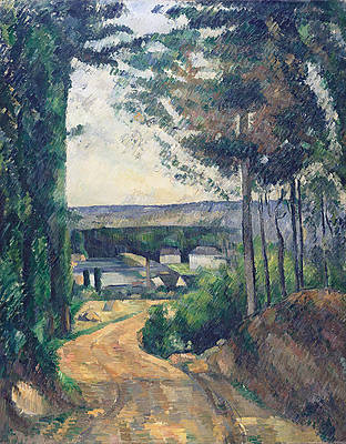 Road leading to the lake Print by Paul Cezanne