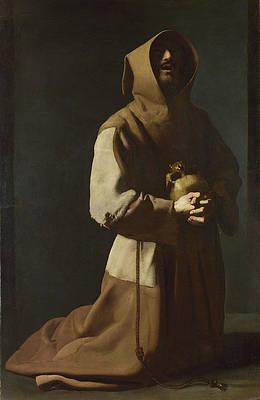 Saint Francis in Meditation Print by Francisco de Zurbaran