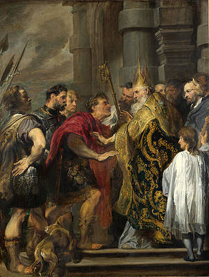 St Ambrose barring Theodosius from Milan Cathedral Print by Anthony van Dyck