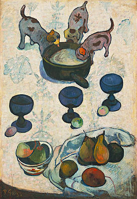 Still Life with Three Puppies Print by Paul Gauguin