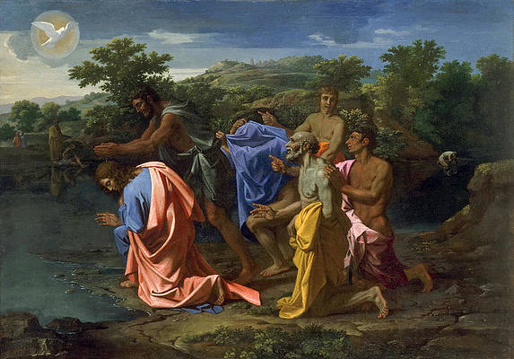 The Baptism of Christ Print by Nicolas Poussin