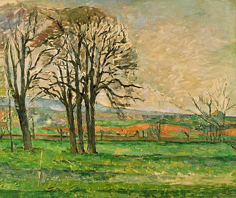 The Bare Trees at Jas de Bouffan Print by Paul Cezanne