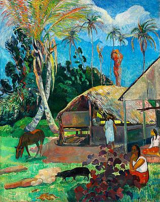 The Black Pigs Print by Paul Gauguin