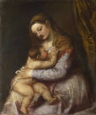 The Virgin suckling the Infant Christ Print by Titian