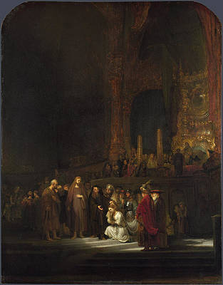The Woman taken in Adultery Print by Rembrandt