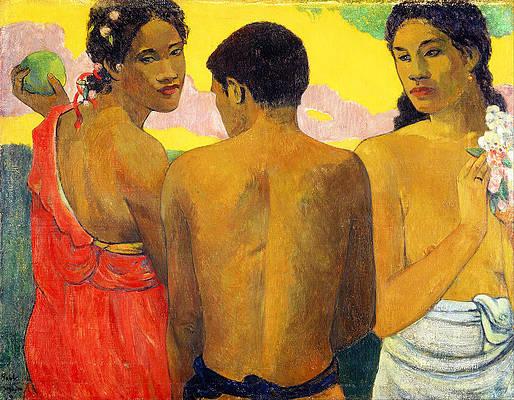 Three Tahitians Print by Paul Gauguin