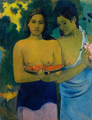 Two Tahitian Women Print by Paul Gauguin