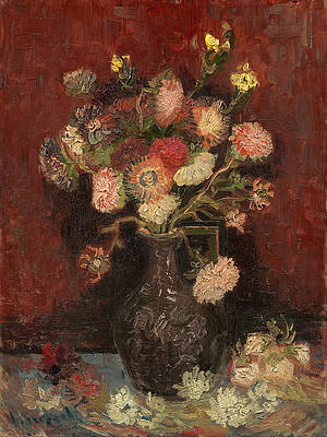 Vase with Chinese asters and gladioli Print by Vincent van Gogh