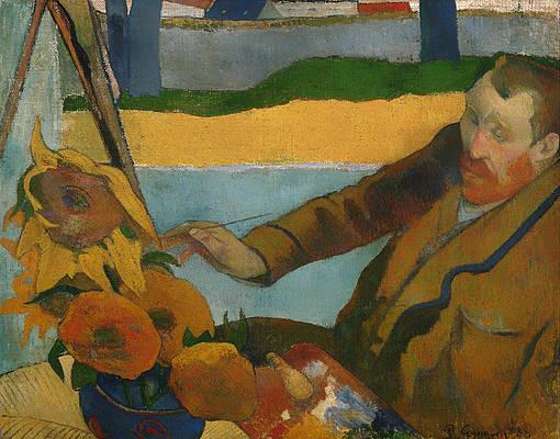 Vincent van Gogh painting sunflowers Print by Paul Gauguin