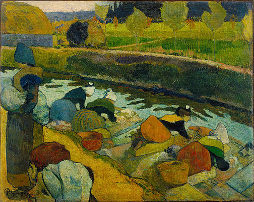 Washerwomen Print by Paul Gauguin