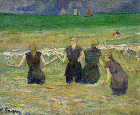 Women Bathing Print by Paul Gauguin