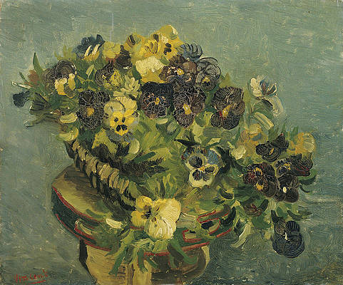 Basket of pansies on a small table Print by Vincent van Gogh