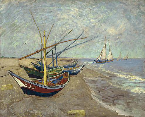 Fishing boats on the beach at Les Saintes-Maries-de-la-Mer Print by Vincent van Gogh