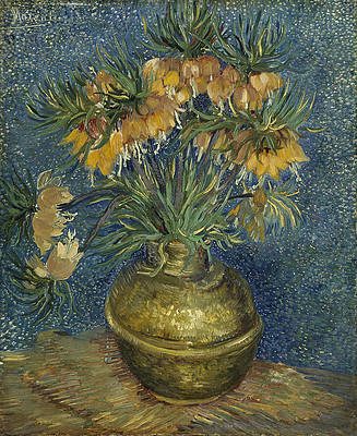 Imperial Fritillaries in a Copper Vase Print by Vincent van Gogh