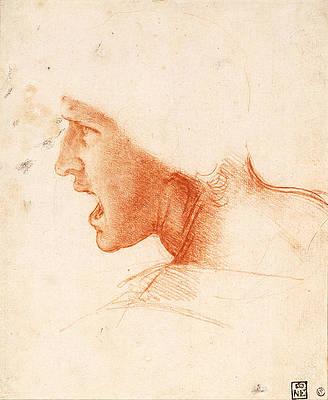 Study of a Warrior's Head for the Battle of Anghiari Print by Leonardo da Vinci