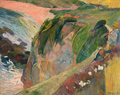 The Flageolet Player on the Cliff Print by Paul Gauguin