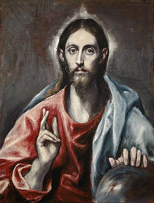 Christ Blessing Print by El Greco