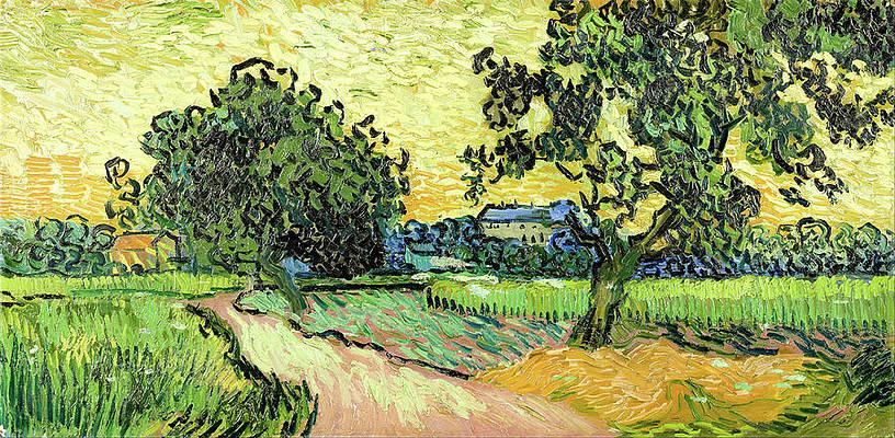 Landscape at twilight Print by Vincent van Gogh