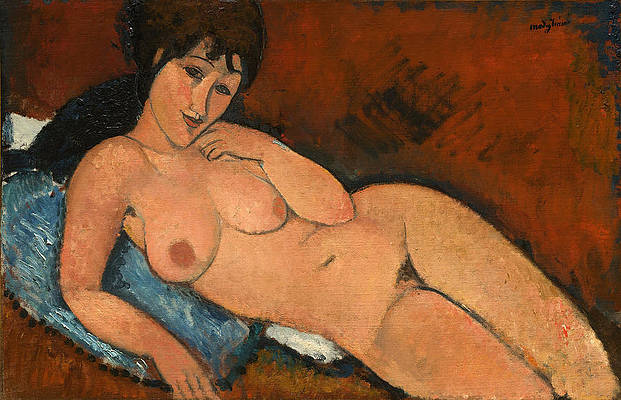 Nude on a Blue Cushion Print by Amedeo Modigliani