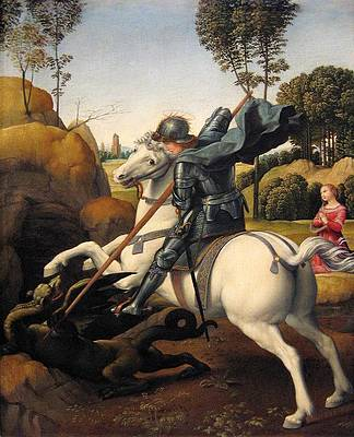 Saint George and the Dragon Print by Raphael