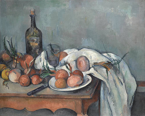 Still Life with Onions Print by Paul Cezanne