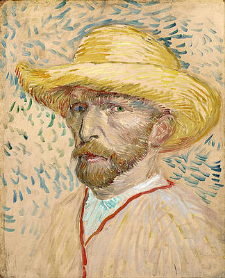 Self-portrait with straw hat Print by Vincent van Gogh