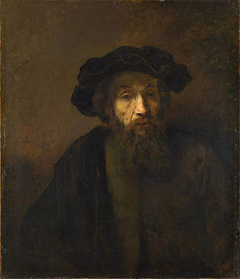 A Bearded Man in a Cap Print by Rembrandt