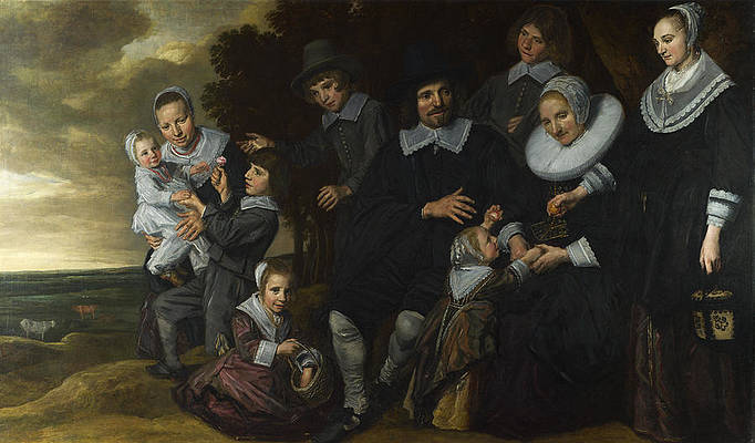A Family Group in a Landscape Print by Frans Hals