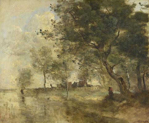 A Flood Print by Jean-Baptiste-Camille Corot