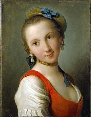 A Girl in a Red Dress Print by Pietro Rotari