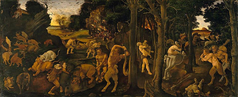 A Hunting Scene Print by Piero di Cosimo