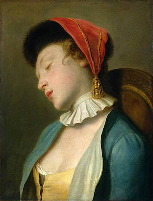 A Sleeping Girl Print by Pietro Rotari