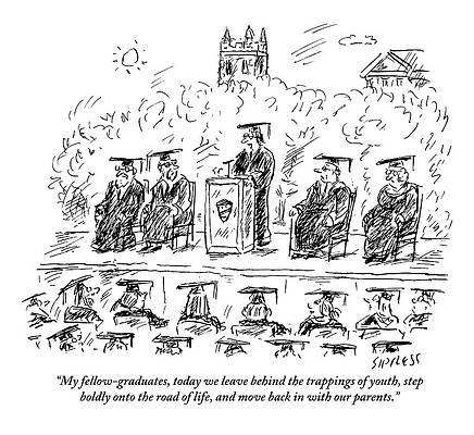 Graduation Cap Drawing - A Speaker At College Graduation. My Fellow by David Sipress